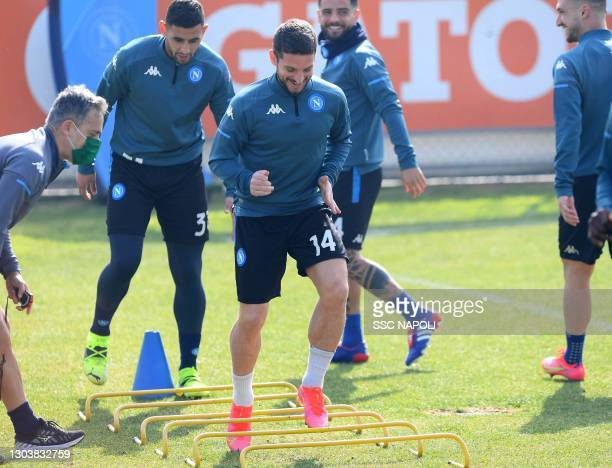 Dries Mertens of Napoli in action during the SSC Napoli training session on February 24, 2021 in Naples, Italy.