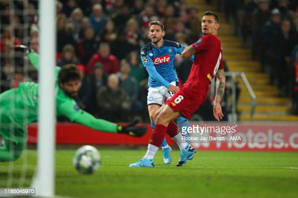 Dries Mertens of Napoli scores a goal to make it 0-1 during the UEFA Champions League group E match between Liverpool FC and SSC Napoli at Anfield on...