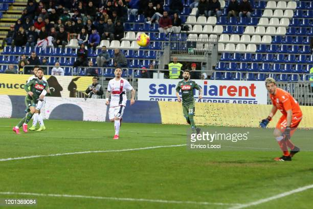 Dries Mertens of Napoli scores his goal 01 during the Serie A match between Cagliari Calcio and SSC Napoli at Sardegna Arena on February 16 2020 in...