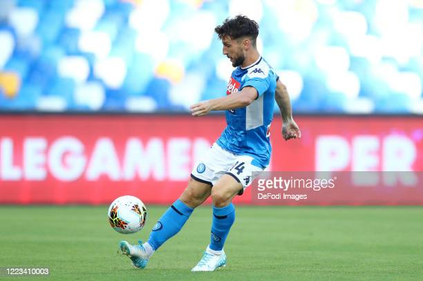 Dries Mertens of Napoli Scores his team's first goal during the Serie A match between SSC Napoli and SPAL at Stadio San Paolo on June 28 2020 in...