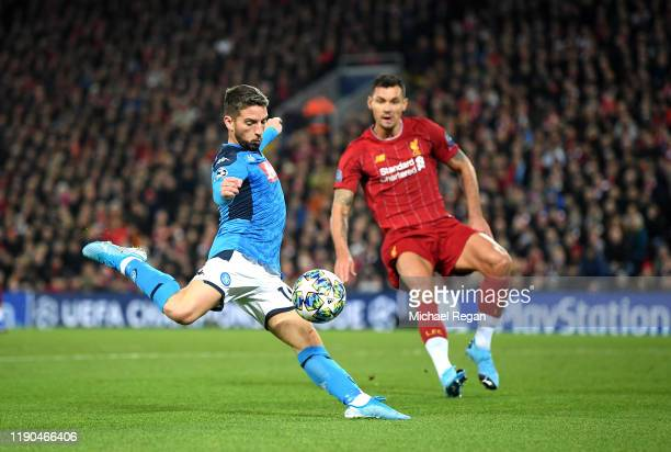 Dries Mertens of Napoli scores his team's first goal during the UEFA Champions League group E match between Liverpool FC and SSC Napoli at Anfield on...