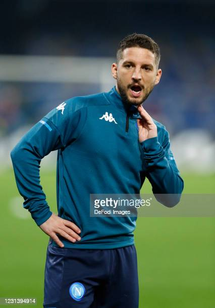 Dries Mertens of Napoli warms up during the UEFA Europa League Round of 32 match between SSC Napoli and Granada CF on February 25, 2021 in Naples,...