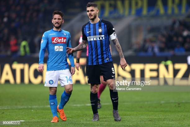 Dries Mertens of Ssc Napoli and Mauro Icardi of Fc Internazionale during the Serie A football match between Fc Internazionale and Ssc Napoli The...