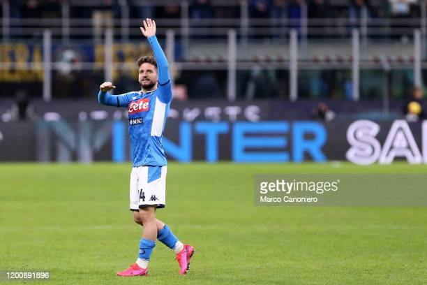 Dries Mertens of Ssc Napoli celebrate at the end of the Coppa Italia semi-final first leg match between Fc Internazionale and Ssc Napoli. Ssc Napoli...