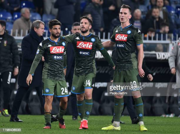 Dries Mertens of SSC Napoli celebrate with Lorenzo Insigne and Arkadiusz Milik at the end of Serie A match between UC Sampdoria and SSC Napoli at...