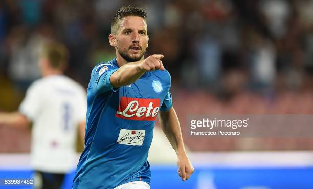 Dries Mertens of SSC Napoli celebrates after scoring goal 21 during the Serie A match between SSC Napoli and Atalanta BC at Stadio San Paolo on...