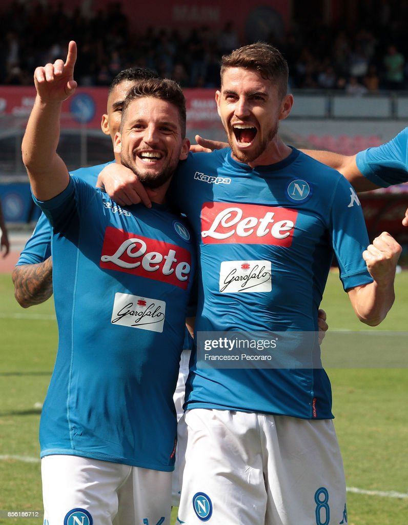 Dries Mertens (L) of SSC Napoli celebrates after scoring his team's second goal during the Serie A match between SSC Napoli and Cagliari Calcio at Stadio San Paolo on October 1, 2017 in Naples, Italy.