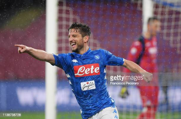 Dries Mertens of SSC Napoli celebrates after scoring the 10 goal during the Serie A match between SSC Napoli and Atalanta BC at Stadio San Paolo on...