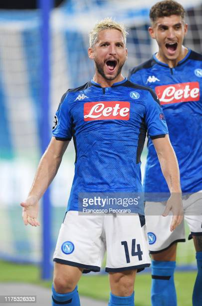 Dries Mertens of SSC Napoli celebrates after scoring the 10 goal during the UEFA Champions League group E match between SSC Napoli and Liverpool FC...