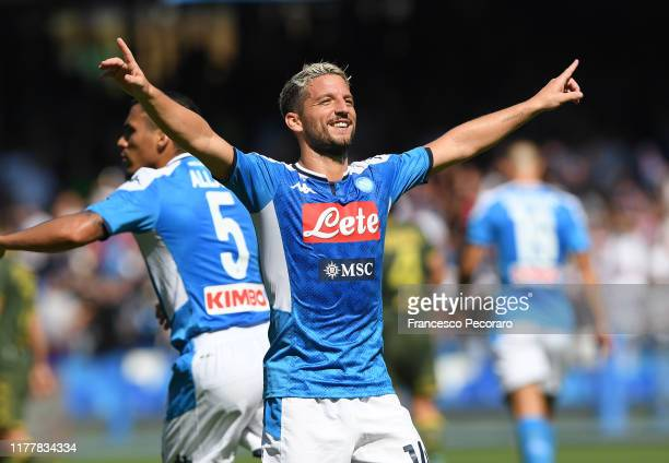 Dries Mertens of SSC Napoli celebrates after scoring the 10 goal during the Serie A match between SSC Napoli and Brescia Calcio at Stadio San Paolo...