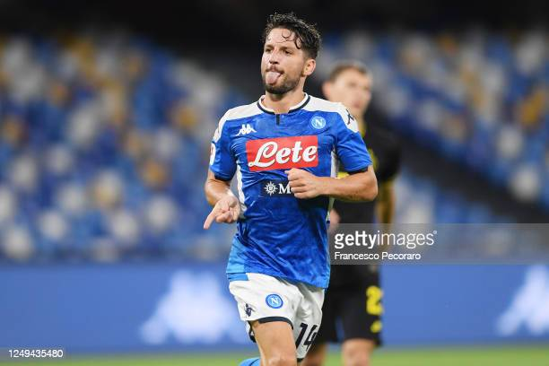Dries Mertens of SSC Napoli celebrates after scoring the 11 goal during the Coppa Italia SemiFinal Second Leg match between SSC Napoli and FC...