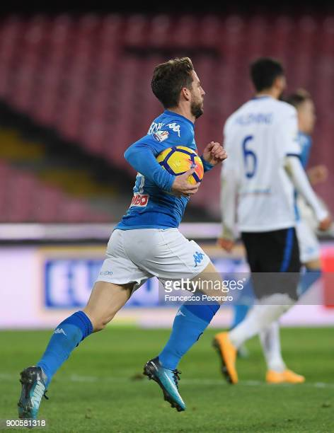 Dries Mertens of SSC Napoli celebrates after scoring the 12 goal during the TIM Cup match between SSC Napoli and Atalanta BC on January 2 2018 in...