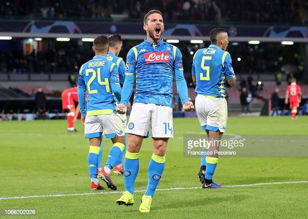 Dries Mertens of SSC Napoli celebrates after scoring the 20 goal during the Group C match of the UEFA Champions League between SSC Napoli and Red...