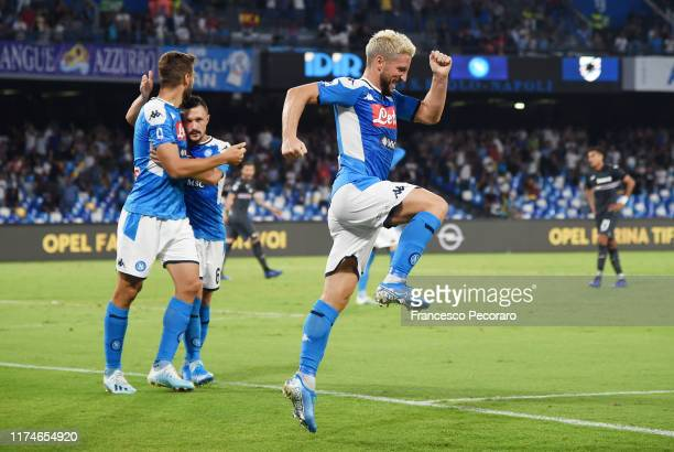 Dries Mertens of SSC Napoli celebrates after scoring the 20 goal during the Serie A match between SSC Napoli and UC Sampdoria at Stadio San Paolo on...