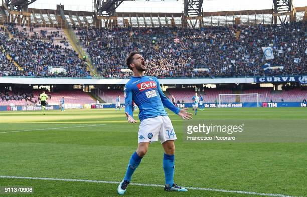 Dries Mertens of SSC Napoli celebrates after scoring the 21 goal during the serie A match between SSC Napoli and Bologna FC at Stadio San Paolo on...