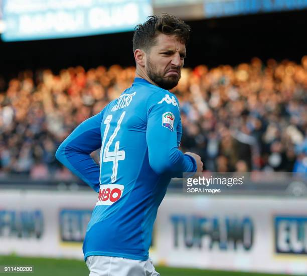 PAOLO NAPLES CAMPANIA ITALY Dries Mertens of SSC Napoli celebrates after scoring the 31 during the Italian Serie A match between SSC Napoli and...