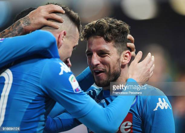 Dries Mertens of SSC Napoli celebrates after scoring the 41 goal during the serie A match between SSC Napoli and SS Lazio at Stadio San Paolo on...