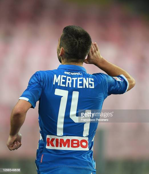 Dries Mertens of SSC Napoli celebrates after scoring the 51 goal during the Serie A match between SSC Napoli and Empoli at Stadio San Paolo on...