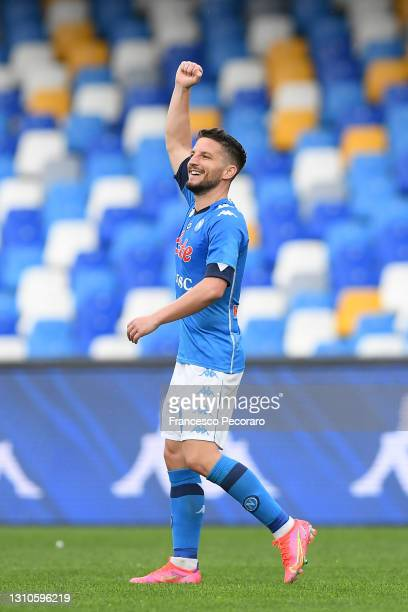 Dries Mertens of SSC Napoli celebrates after scoring their side's third goal during the Serie A match between SSC Napoli and FC Crotone at Stadio...