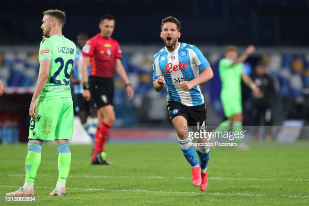 Dries Mertens of SSC Napoli celebrates after scoring their sides fourth goal during the Serie A match between SSC Napoli and SS Lazio at Stadio Diego...