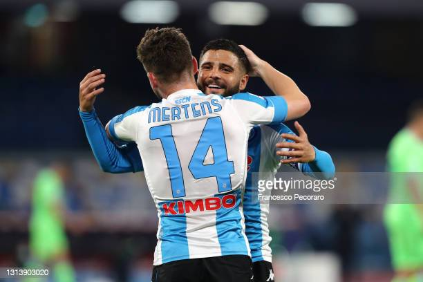 Dries Mertens of SSC Napoli celebrates after scoring their sides fourth goal with team mate Lorenzo Insigne during the Serie A match between SSC...