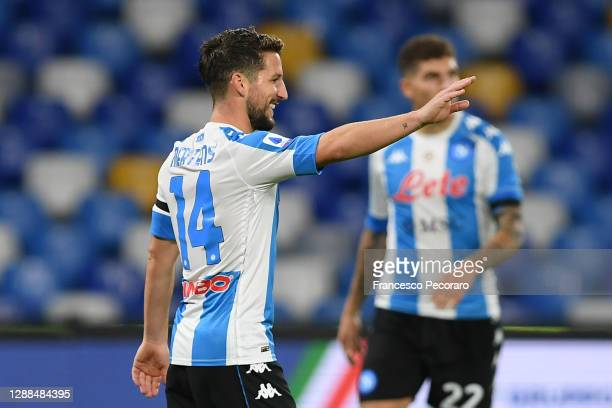 Dries Mertens of S.S.C. Napoli celebrates after scoring their team's third goal during the Serie A match between SSC Napoli and AS Roma at Stadio San...