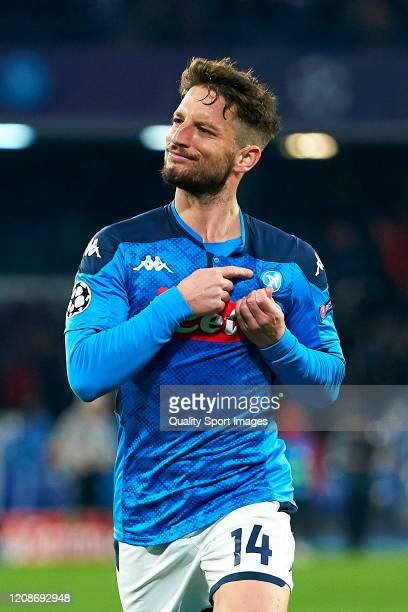 Dries Mertens of SSC Napoli celebrates his team's first goal during the UEFA Champions League round of 16 first leg match between SSC Napoli and FC...