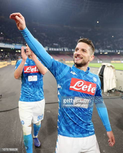 Dries Mertens of SSC Napoli celebrates the victory after the Serie A match between SSC Napoli and Bologna FC at Stadio San Paolo on December 29 2018...