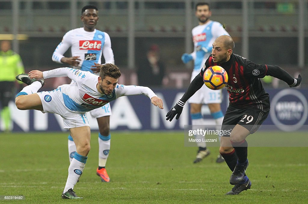 Dries Mertens of SSC Napoli competes for the ball with Gabriel Paletta of AC Milan during the Serie A match between AC Milan and SSC Napoli at Stadio Giuseppe Meazza on January 21, 2017 in Milan, Italy.