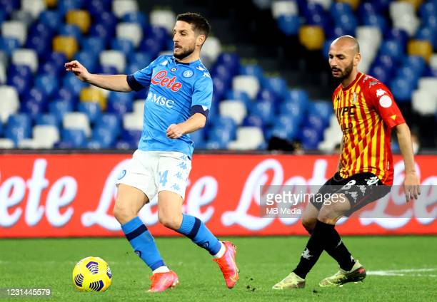 Dries Mertens of SSC Napoli competes for the ball with Pasquale Schiattarella of Benevento Calcio during the Serie A match between SSC Napoli and...