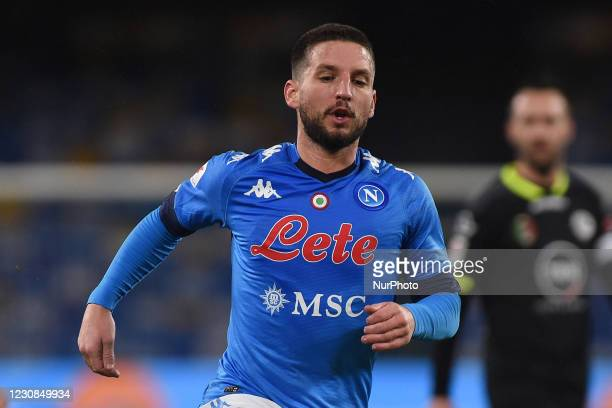 Dries Mertens of SSC Napoli during the Coppa Italia match between SSC Napoli and AC Spezia at Stadio Diego Armando Maradona Naples Italy on 28...