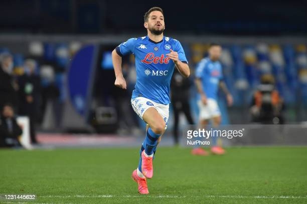 Dries Mertens of SSC Napoli during the Serie A match between SSC Napoli and Benevento Calcio at Stadio Diego Armando Maradona Naples Italy on 28...