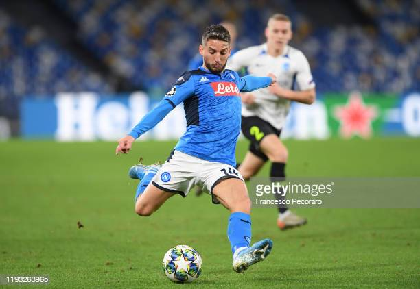 Dries Mertens of SSC Napoli during the UEFA Champions League group E match between SSC Napoli and KRC Genk at Stadio San Paolo on December 10 2019 in...