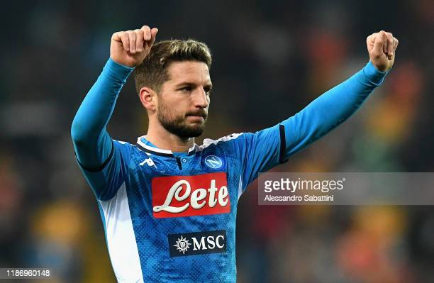 Dries Mertens of SSC Napoli greets his fans after the Serie A match between Udinese Calcio and SSC Napoli at Stadio Friuli on December 7 2019 in...
