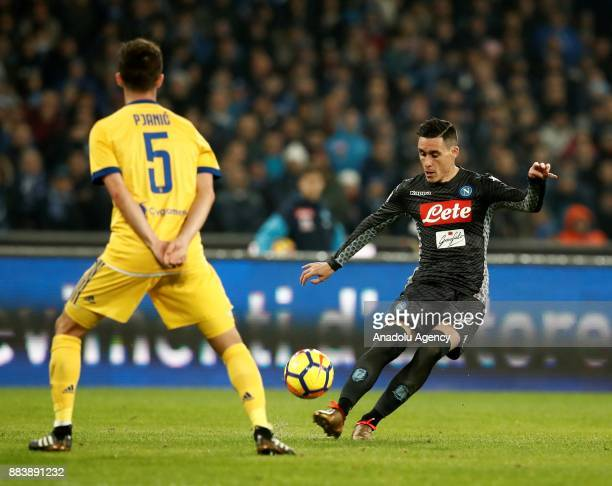Dries Mertens of SSC Napoli in action against Miralem Pjanic of FC Juventus during the Serie A football match between SSC Napoli and FC Juventus at...