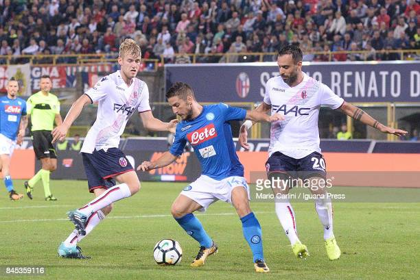 Dries Mertens of SSC Napoli in action during the Serie A match between Bolgna FC and SSC Napoli at Stadio Renato Dall'Ara on September 10 2017 in...