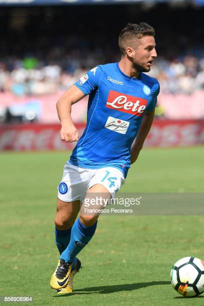 Dries Mertens of SSC Napoli in action during the Serie A match between SSC Napoli and Cagliari Calcio at Stadio San Paolo on October 1 2017 in Naples...