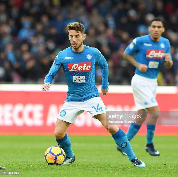 Dries Mertens of SSC Napoli in action during the Serie A match between SSC Napoli and ACF Fiorentina at Stadio San Paolo on December 10 2017 in...