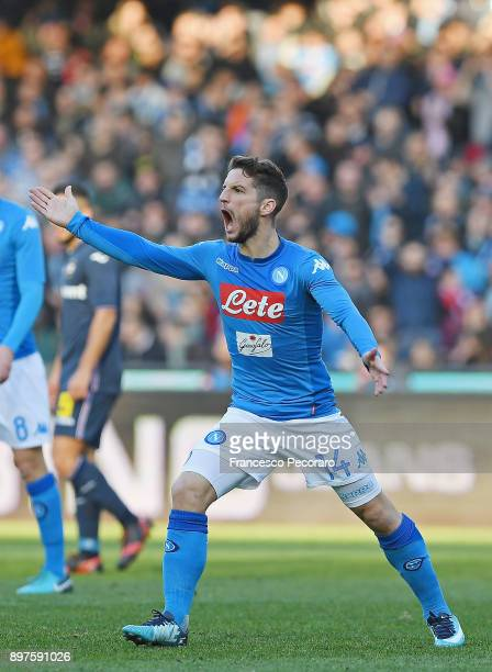 Dries Mertens of SSC Napoli in action during the Serie A match between SSC Napoli and UC Sampdoria at Stadio San Paolo on December 23 2017 in Naples...