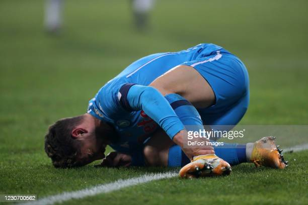 Dries Mertens of SSC Napoli lies on the ground during the Italian PS5 Supercup match between Juventus and SSC Napoli at Mapei Stadium - Citta' del...