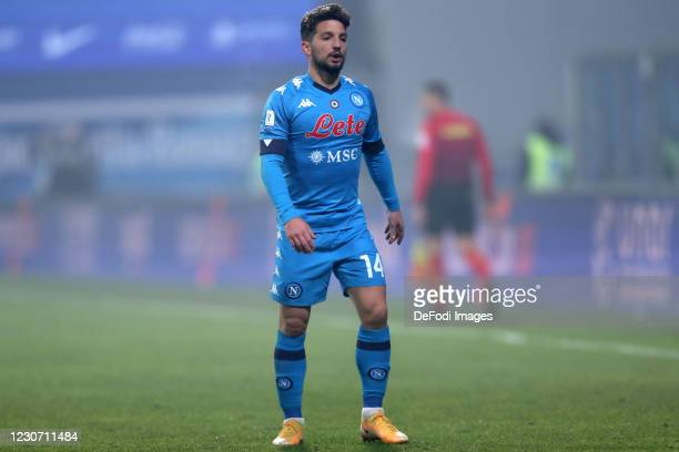 Dries Mertens of SSC Napoli look on during the Italian PS5 Supercup match between Juventus and SSC Napoli at Mapei Stadium - Citta' del Tricolore on...