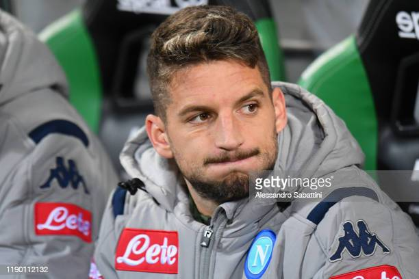 Dries Mertens of SSC Napoli looks on during the Serie A match between US Sassuolo and SSC Napoli at Mapei Stadium Citta del Tricolore on December 22...