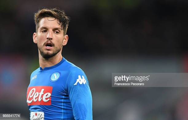 Dries Mertens of SSC Napoli looks on during the serie A match between SSC Napoli v Genoa CFC at Stadio San Paolo on March 18 2018 in Naples Italy