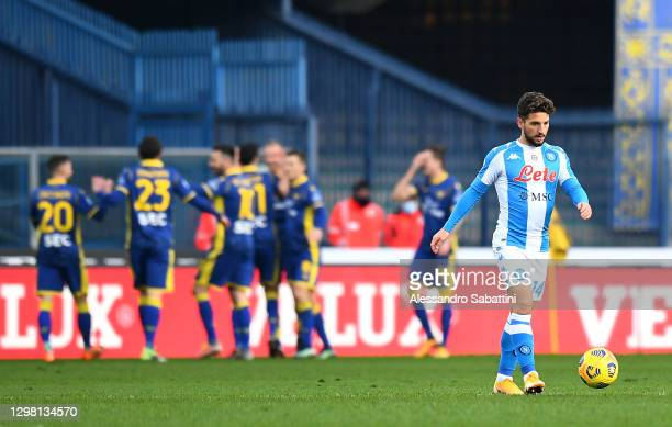 Dries Mertens of SSC Napoli reacts as Antonin Barak of Verona scores their sides second goal during the Serie A match between Hellas Verona FC and...