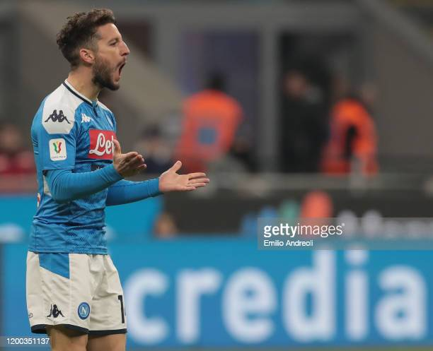 Dries Mertens of SSC Napoli reacts during the Coppa Italia Semi Final match between FC Internazionale and SSC Napoli at Stadio Giuseppe Meazza on...