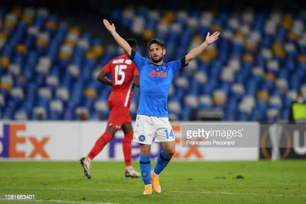Dries Mertens of SSC Napoli reacts during the UEFA Europa League Group F stage match between SSC Napoli and AZ Alkmaar at Stadio San Paolo on October...