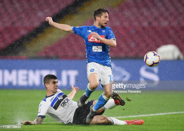 Dries Mertens of SSC Napoli scores a goal to make it 10 during the Serie A match between SSC Napoli and Atalanta BC at Stadio San Paolo on April 22...