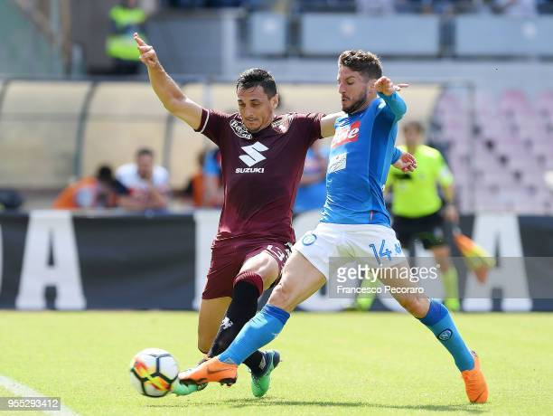 Dries Mertens of SSC Napoli scores the 10 goal during the serie A match between SSC Napoli and Torino FC at Stadio San Paolo on May 6 2018 in Naples...