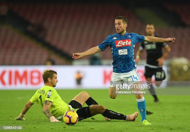 Dries Mertens of SSC Napoli scores the 51 goal during the Serie A match between SSC Napoli and Empoli at Stadio San Paolo on November 2 2018 in...
