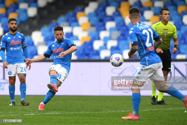 Dries Mertens of SSC Napoli scores their side's third goal during the Serie A match between SSC Napoli and FC Crotone at Stadio Diego Armando...